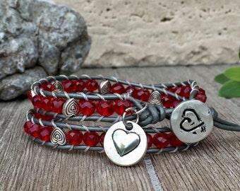 Double wrap Leather Bracelet Valentine Glam