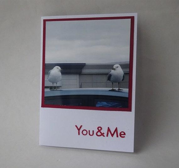 Love Card - Handmade Photo Card - Two Seagulls or Birds - #1166