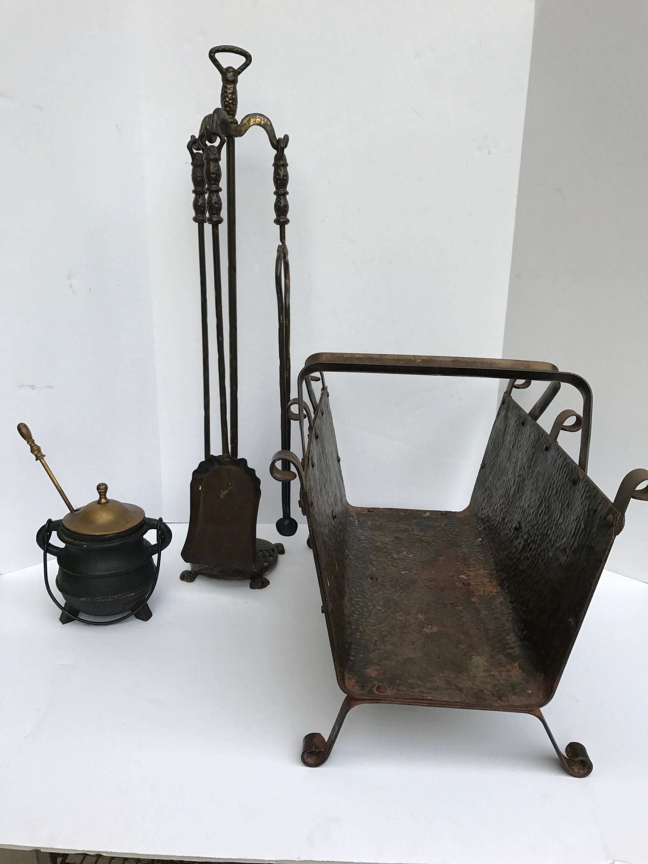 antique fireplace tools cast iron pot log holder lot