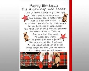 Scottish Birthday Card 'Tae A Grownup Wee Lassie' WWBI57