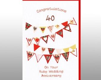 Ruby Anniversary Hearts Bunting Card WWWE31