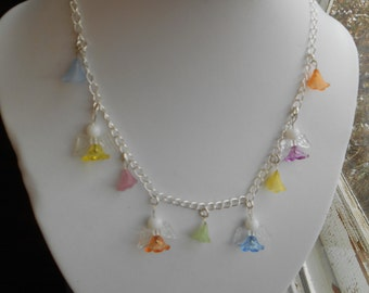 Angle and flowers necklace,angle necklace,flower necklace