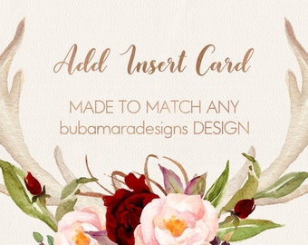 "ADD INSERT CARD, Add a matching 5x3.5"" matching card to any invitation"