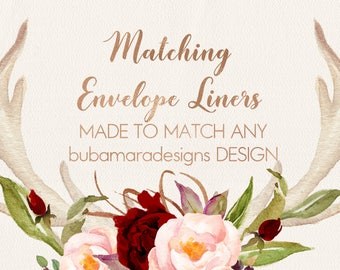 "ADD MATCHING Envelope Liners, Customizable envelope liners to match any of BubamaraDesigns design,for size A7 envelopes (5x7"" invites)"