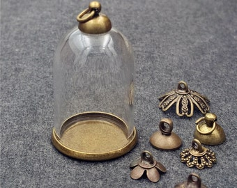 5pieces 30x20mm bell jar glass globe with findings set, glass vial pendant glass vial empty glass dome glass locket - bronze classic base