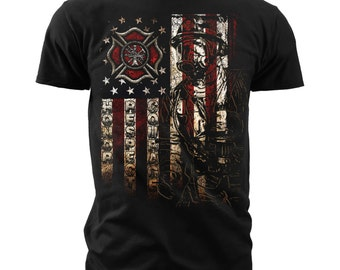 "Black Ink Men's Firefighter ""American Flag"" American Pride T-Shirt (FT102)"