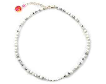 White Howlite and sterling silver choker.