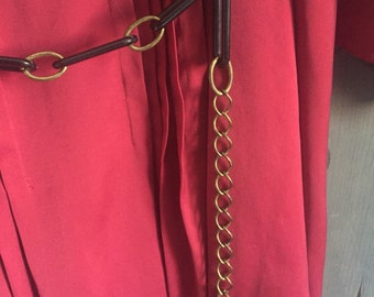 Vintage Retro Mod belt, goldtone brass chain and black plastic, hip or waist, small medium large 1960s 1970s