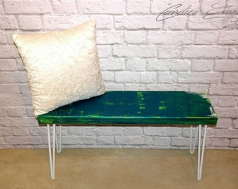 Entryway bench, hairpin bench, coffee table, hallway, end table, abstract art, green, hairpin table, hairpin legs, home decor, furniture