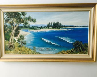 Large Vintage original Painting Australian Artist Sunshine Coast Queensland