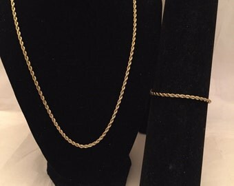 Gold Rope Chain Necklace and Bracelet Set