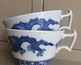Two Vintage Booths Blue Dragon China Teacups