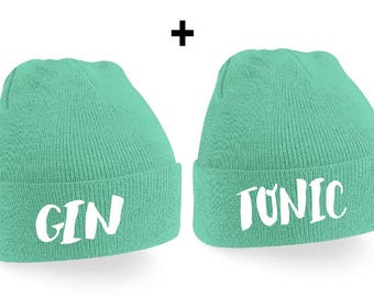 Gin & Tonic Couple Beanie Mütze -  Gin,Tonic,Beanies,Friends,Gift,Best Friends,Mint,Drinks,Party,Sisters,
