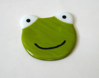 Frog coaster, fused glass coaster, drinks mat, fused glass frog, gift for her, stained glass art, home decor, Mother's Day gift