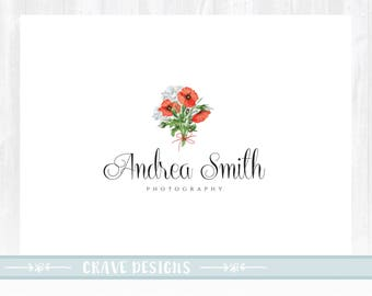 Premade Logo - Logo Design - Photography Logo - Watercolor Logo - Floral Logo - Flower Logo - Business Logo - Branding Kit