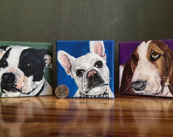Custom, hand-painted pet portraits on canvas.