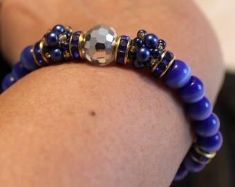 Beautiful Pearl, Crystal & glass-beaded shamballa bracelet; handmade, beadweaving, blue, cute, casual wear, party wear