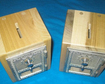 2 POST OFFICE BOX Door Banks-1959 Door-Combination Lock-2 Different Colors of Solid Poplar-Hand Made- Free Priority Mail Shipping