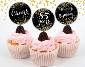 85th birthday - Cupcake Toppers - Cheers to 85 years - Printable - Instant download