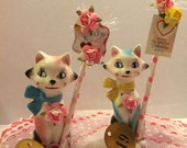 Holt Howard Kitty Cat Valentine Decoration Vintage Japan Mid Century Modern 50's 60's Kitsch Style Whimsical Retro Holiday Figurine OOAK