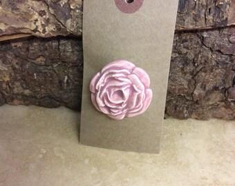 Handmade ceramic flower brooch