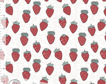 1/2 Yard Organic Cotton Knit Fabric,ORGANIC JERSEY Knit Fabric by Elvelyckan Design,Very STRAWBERRY