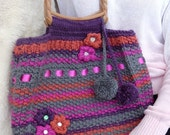 Hand Knitted Bag Hand Bag Lined Bag Carefully Detailed with Flowers Satin Ribbon and Pom Poms