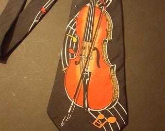 Vintage 1980s Double Bass Music silk necktie.