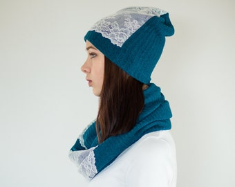 Teal Blue Hat + Scarf Set / Blue Infinity Scarf / Womens Hats / Womens Scarves / Slouchy Beanie Hat / Cowl Scarf / Slouch Beanie