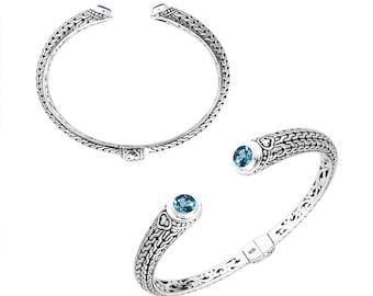 Blue topaz sterling silver bangle