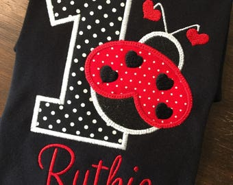 Ladybug Birthday Shirt // Lady Bug Birthday Shirt // Ladybug Monogrammed Birthday Shirt // Ladybug 1st First 2nd 3rd 4th 5th 6th
