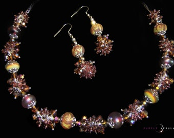 Mid Summer's Night - Genuine Crystal and Lampwork Bead Necklace and Earring Set