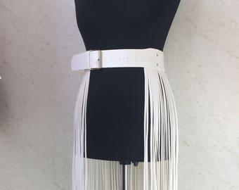 Fringe belt,skirt fringe,vegan leather skirt