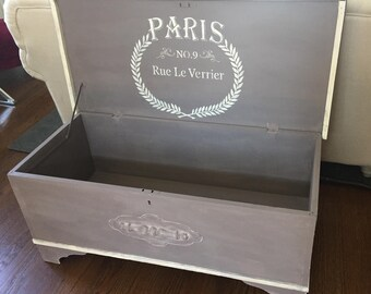 Hand painted vintage cedar trunk, Country chic style. Local pick up/delivery only