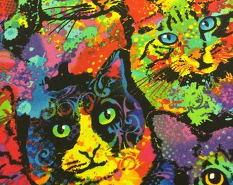Warhol Cat Fabric - Colorful Paint Splatter Cats  - Timeless Treasures  - CT119374 CAT-C4140 100% Quality Cotton by the Yard