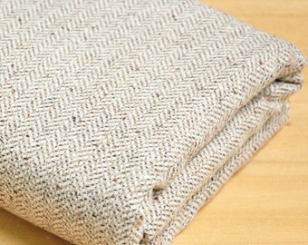free ship wool tweed fabric warm color weaved herringbone beige with gloden line weaved  pattern price for 1/2 meter 59""
