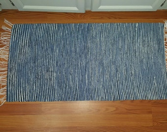 Hand woven rug, super chunky, woven rug, bathroom rug, kitchen rug, handmade rug, small rug, cozy rug, blue and white rug, gift for him