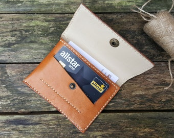 Set of two! Leather Wallet and Personalised Keyring, Leather Purse,Leather Coin Purse, Leather Card Holder, Snap wallet,Leather Keyring