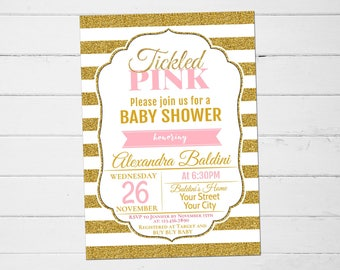 Baby Shower Invitation Girl, Tickled Pink Baby Shower, Baby Shower Invitation Girl, Rustic Baby Shower Invitation, Tickled Pink Invitation