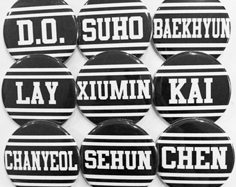 EXO MEMBERS PINS  - (pick 2) chanyeol / baekhyun / chen / d.o. / kai / suho / lay / xiumin / sehun