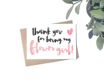 Thank You For Being My Flower Girl Card - Bridesmaid Card - A6 Card