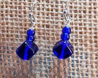 blue cube earrings