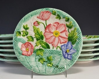 12 Vintage Majolica Snack/ Dessert / Luncheon Plates Raised Floral Basket Design Made in Italy