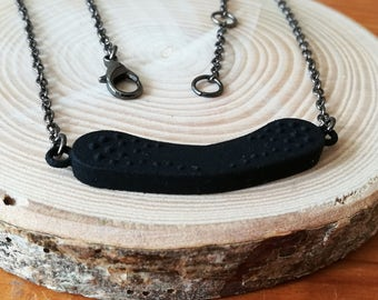 Textured black choker, contemporary pendant 3d printed in Strong Flexible Plastic, with black brass chain, unique design
