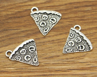 20pcs Pizza Charms Food CharmAntique Silver Tone 19x20mm cf2626