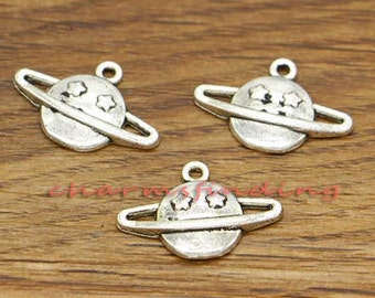 30pcs Planet Charms Saturn with Rings Charms Antique Silver Tone 20x13mm cf0378