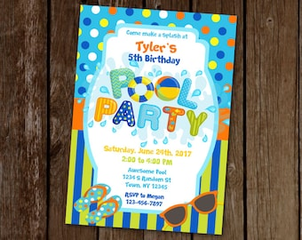 Blue Pool Party Invitation, Boy Pool Party Invitation, Waterpark Birthday Invite, Birthday Pool Party Invite, Swimming Birthday Invitation