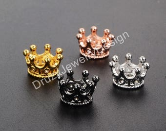 5pieces,Micro Pave Crown Beads,Cubic Zircon Bead,Pave Rhinestone,Rhinestone Beads,Pave Beads,Crystal Beads,Making Beads,WX324