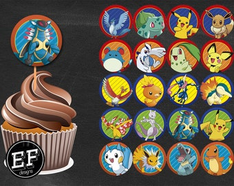 20 Pokemon Cupcakes Toppers instant download, Printable Pokemon party cupcakes Topper, Pokemon toppers, 2 INCHES