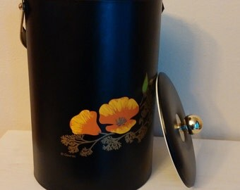 Vintage Couroc Ice Bucket, Tall Couroc Ice Bucket, Black Ice Bucket with Orange Flowers, Vintage Ice Bucket